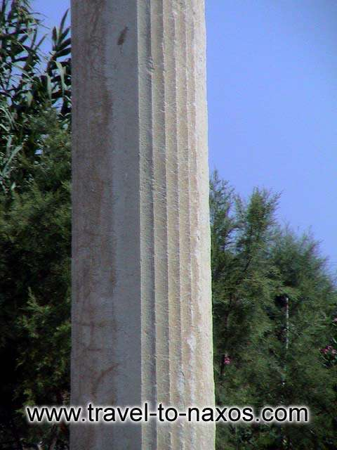 DIONYSOS TEMPLE AT IRIA - A ionic column from the temple of Dionysos.