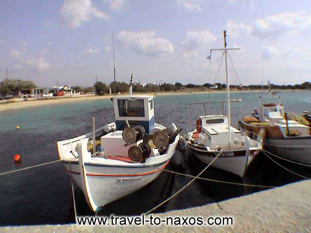 FISHING BOATS - Fishing boats at Agia Anna beach harbour in Naxos