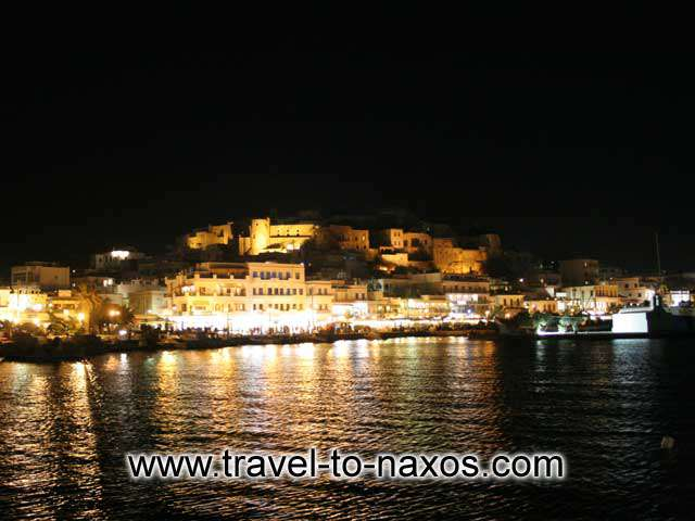 NAXOS TOWN BY NIGHT - View of Chora and the castle by night
