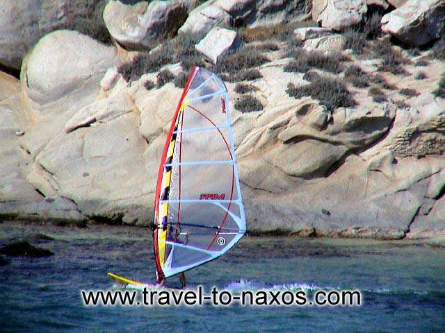 Windsurfing in Mikri Vigla beach. NAXOS PHOTO GALLERY - MIKRI VIGLA BEACH