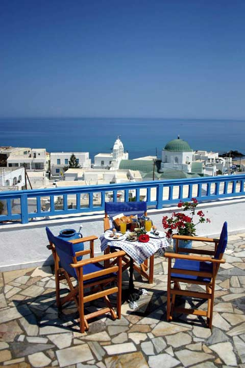 View of Naxos Chora from the breakfast terrace CLICK TO ENLARGE